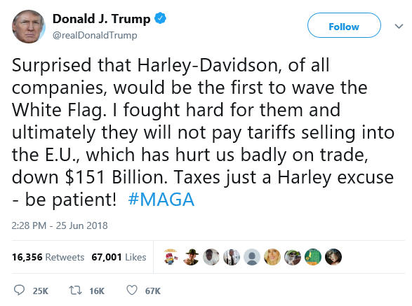 Trump Tweet June 25, 2018