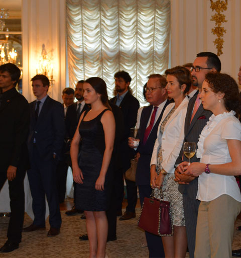 group photo from Romanian embassy event