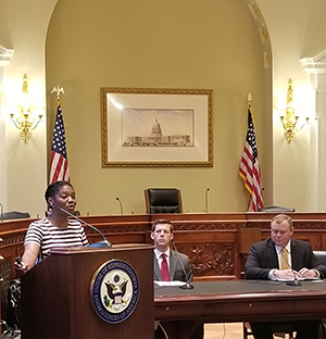 Latoya at a House Telehealth Caucus breifing providing an overview of federal and state telehealth policy trends with industry experts from AHIP and UMMC.