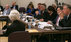 Nicole, Gov. McAuliffe, Sen. Warner, and the Hon. Karen Jackson during a Virginia Unmanned Systems Commission meeting. Nicole served as co-chair of the Commission.